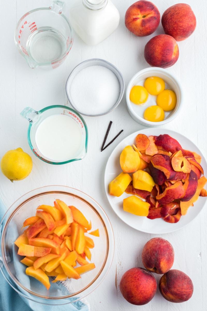 ingredients displayed for making fresh peach ice cream