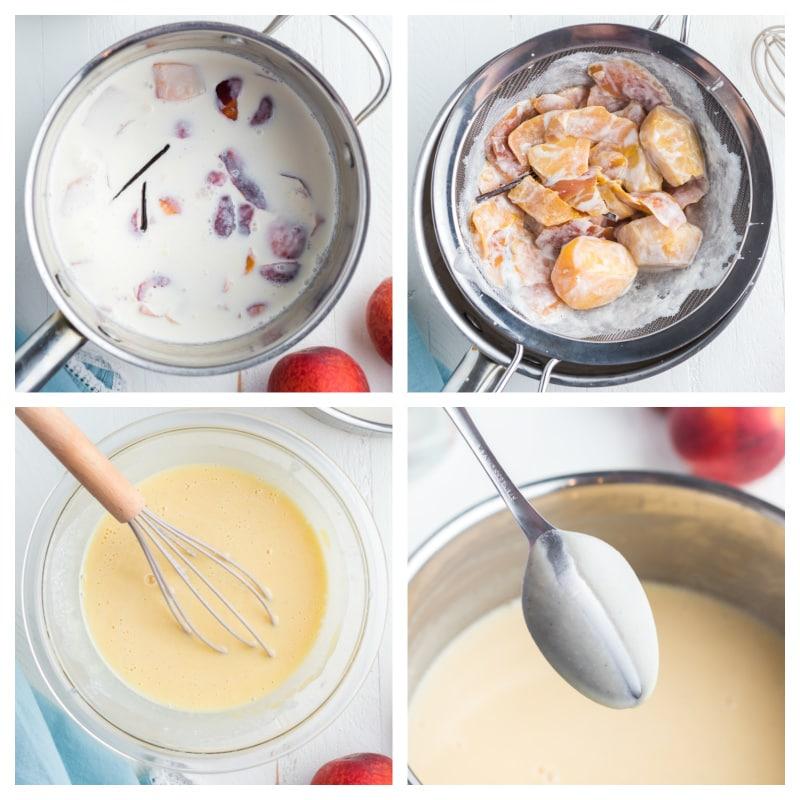 four photos showing how to make the custard for fresh peach ice cream