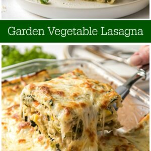 pinterest collage image for garden vegetable lasagna