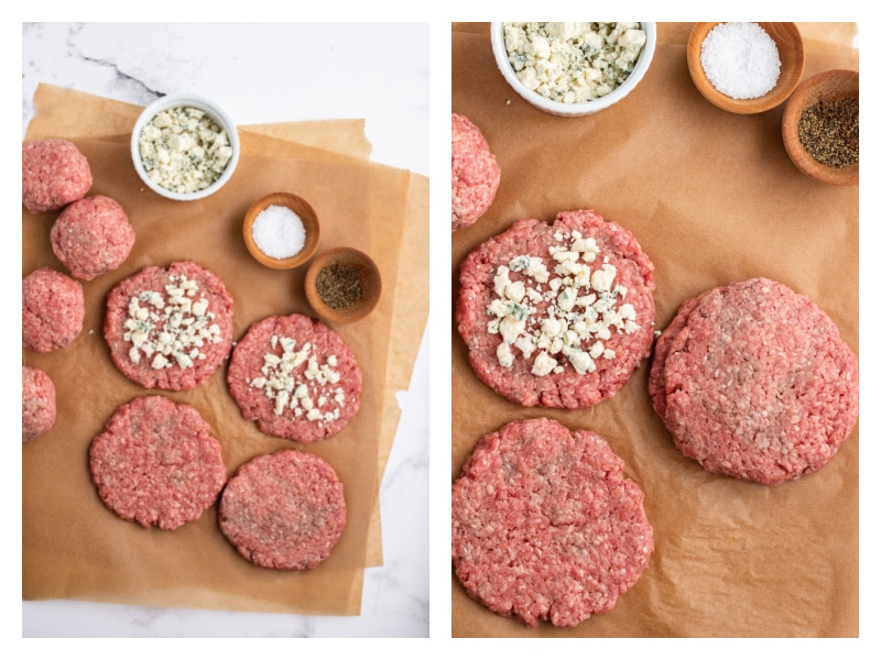 two photos showing how to assemble gorgonzola stuffed burgers