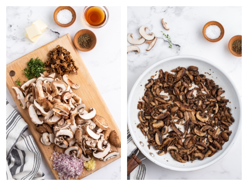 two photos showing how to make sauteed wild mushrooms