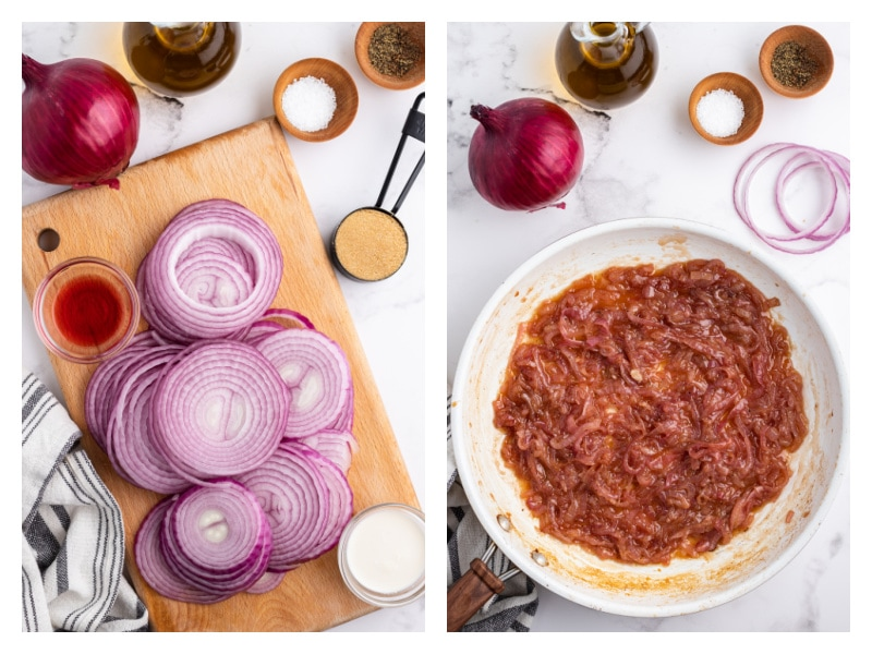 two photos showing how to make caramelized red onions