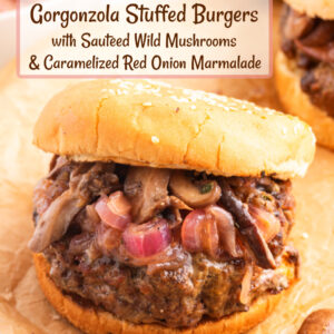 pinterest image for gorgonzola stuffed burgers