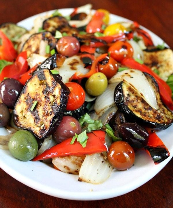 Beautiful Grilled Vegetable Salad on a white plate