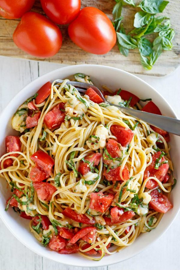 Linguine with Tomatoes Basil and Brie