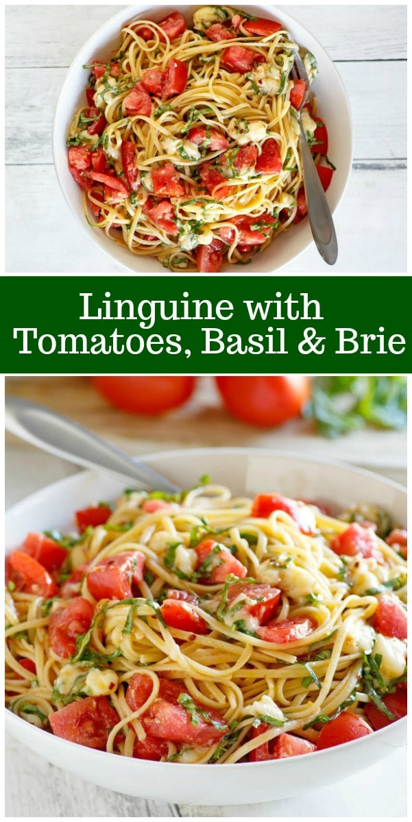 Linguine with Tomatoes Basil and Brie recipe from RecipeGirl.com #linguine #pasta #tomatoes #basil #brie #recipe #summer #dinner #RecipeGirl