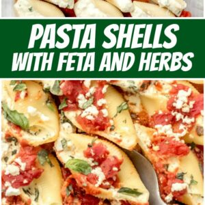 pinterest collage image for pasta shells with feta and herbs