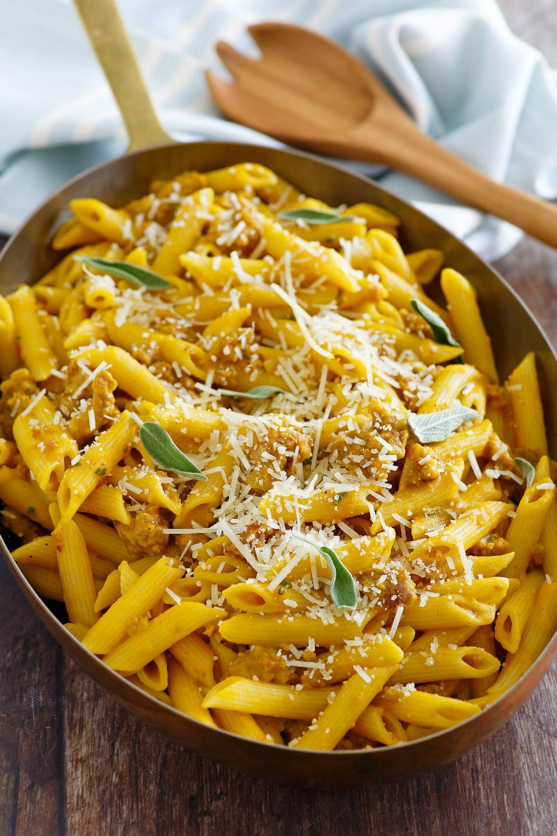 Pasta with Pumpkin and Sausage