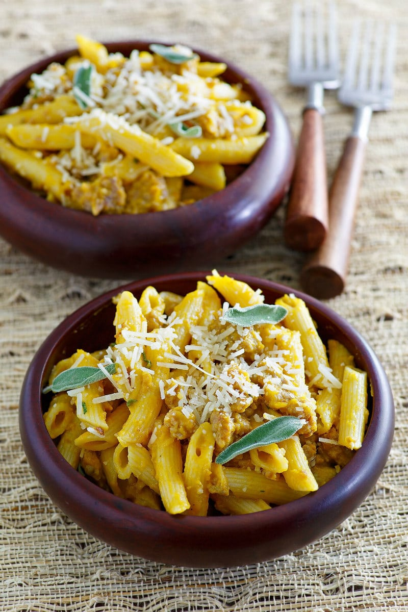 Pasta with Pumpkin and Sausage in serving dishes