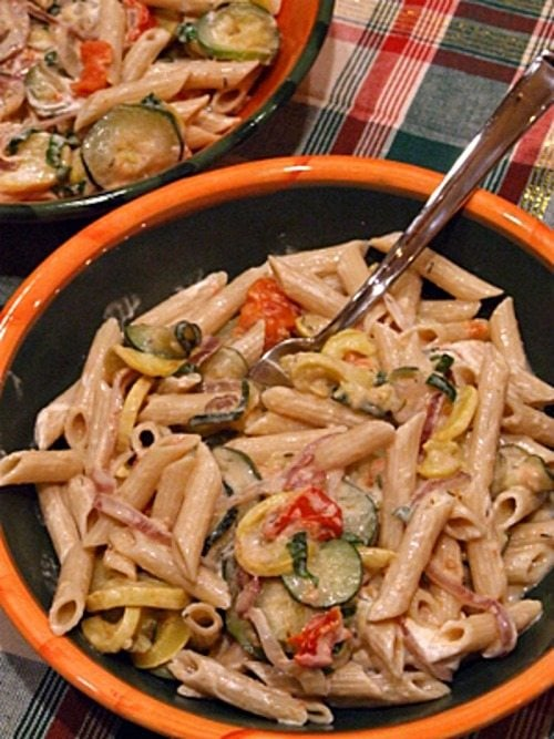 Penne with Roasted Vegetables and Goat Cheese