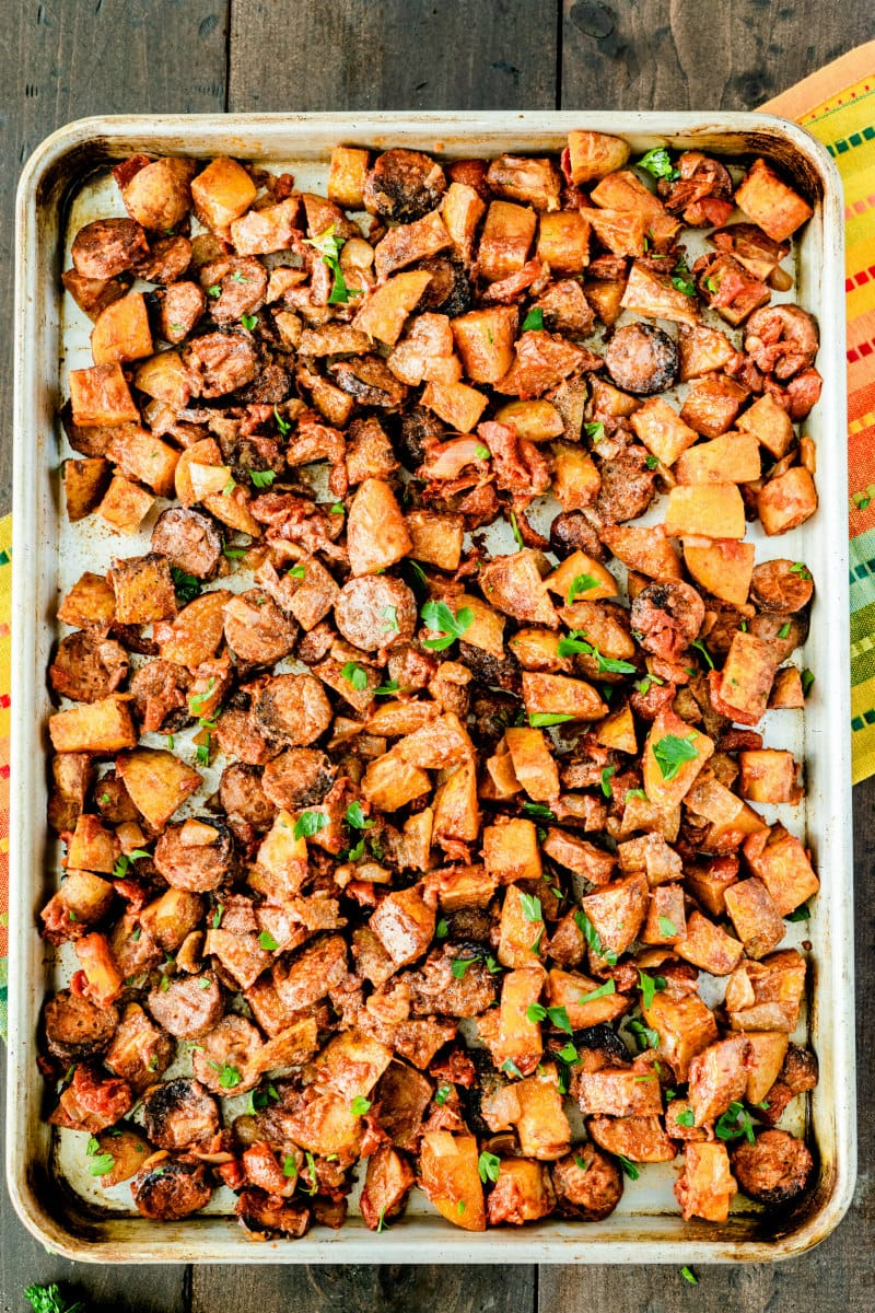 sheet pan filled with roasted portuguese potatoes and sausage