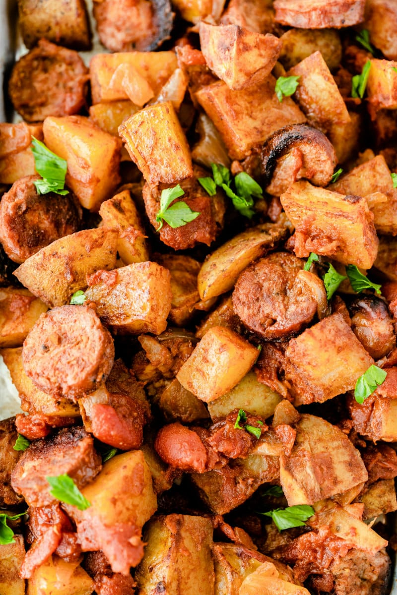 close up of portuguese roasted potatoes and sausage
