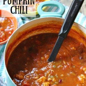 Pinterest image for turkey pumpkin chili