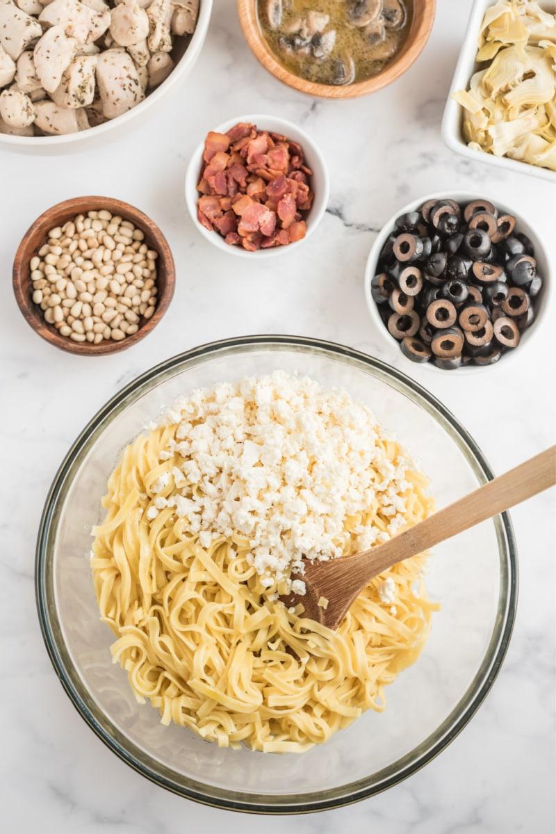 ingredients displayed for making winter pasta