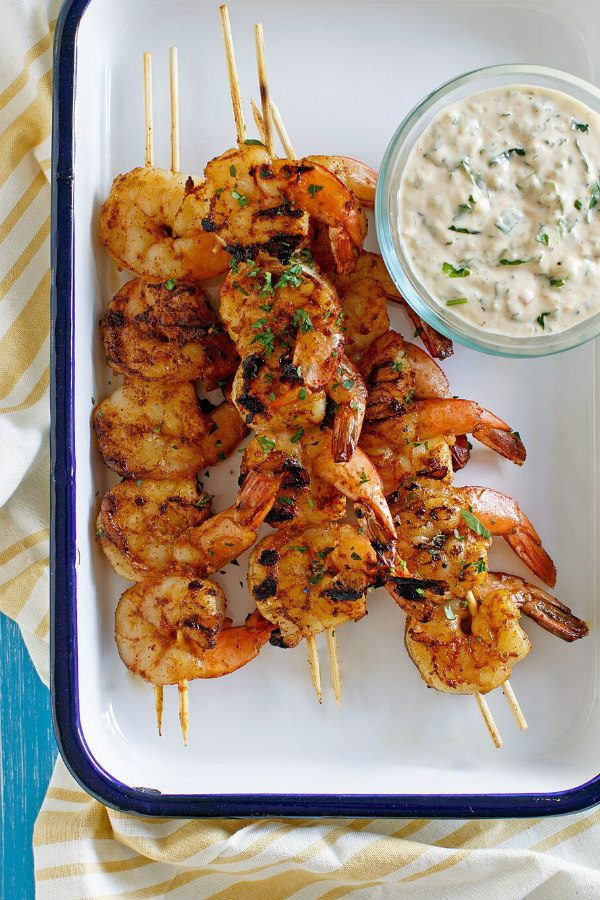 Barbecued Shrimp on Skewers served with Remoulade Sauce