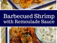 pinterest collage image for barbecued shrimp with remoulade sauce