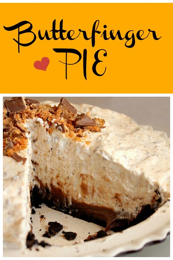 Totally decadent and creamy Butterfinger Pie recipe from RecipeGirl.com #butterfinger #butterfingers #pie #recipe