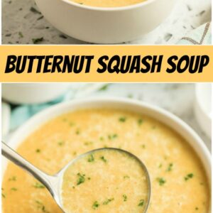 pinterest collage image for butternut squash soup