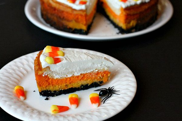 Slice of Candy Corn Cheesecake