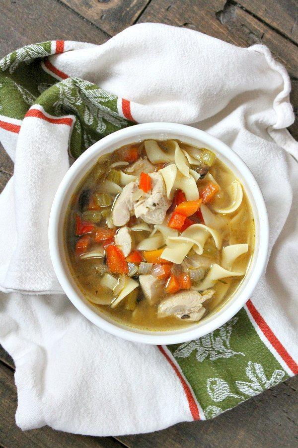 Roasted Vegetable Rosemary Chicken Soup recipe by RecipeGirl.com