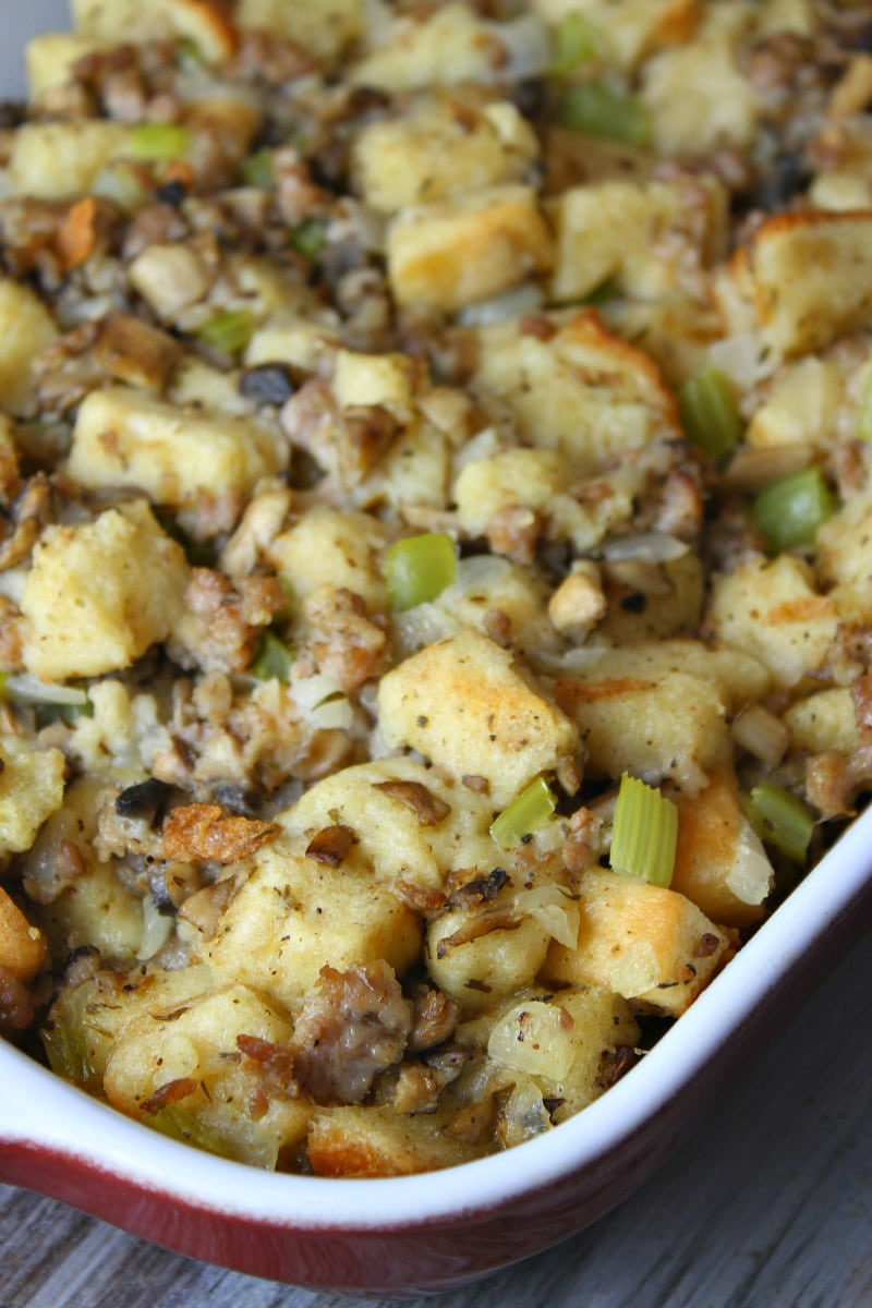 Classic Stuffing baked in a casserole dish