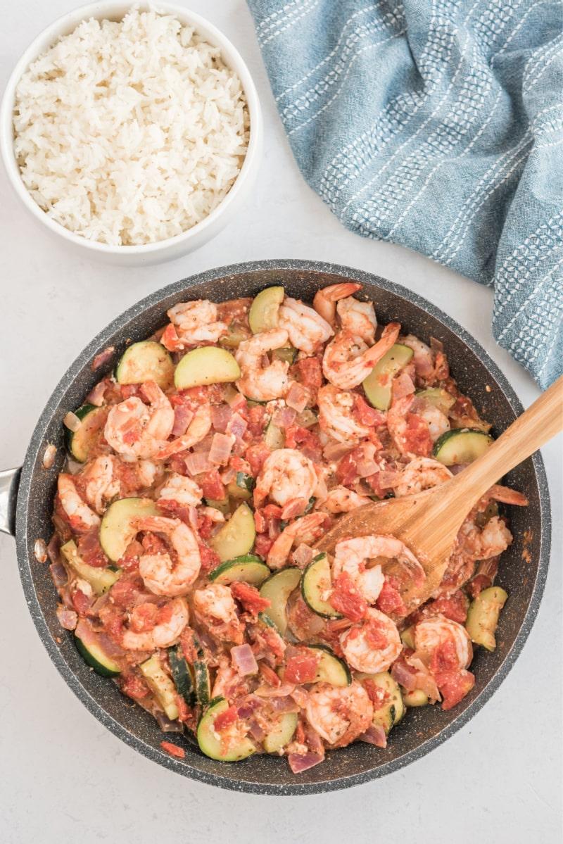 greek style shrimp in a skillet