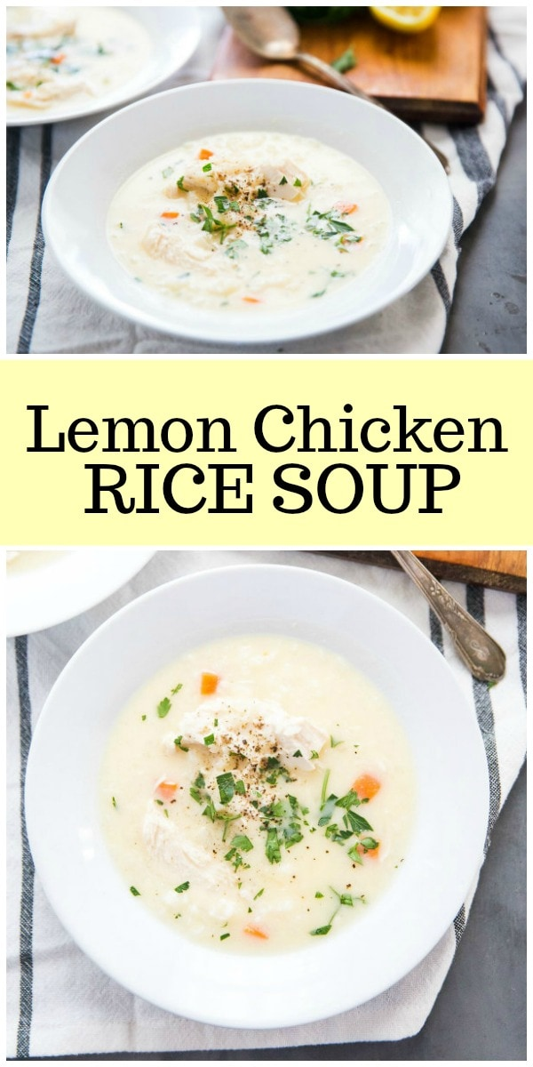 Easy Lemon Chicken Rice Soup recipe from RecipeGirl.com #lemon #chicken #soup #Greek #recipe