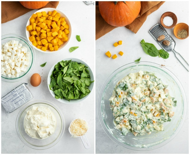 ingredients displayed for making the filling for pumpkin manicotti