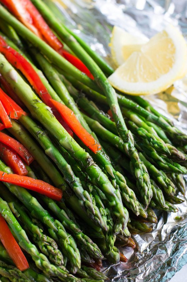 Red Pepper Confetti Asparagus - recipe from RecipeGirl.com