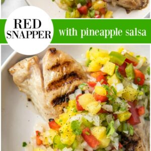 pinterest collage image for red snapper with pineapple salsa