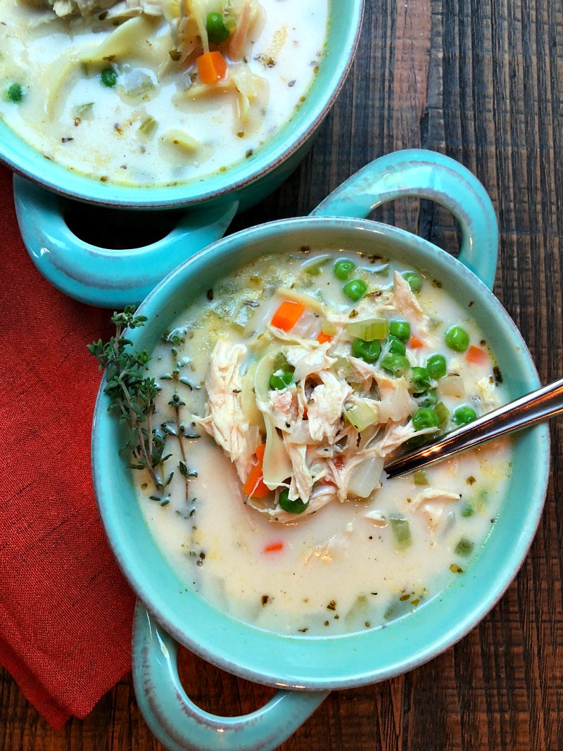 Bowls of Roasted Chicken Noodle Soup