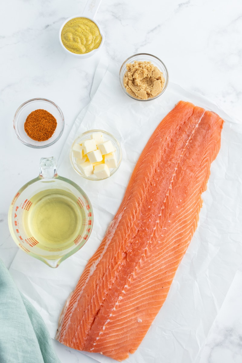 displayed ingredients for salmon with mustard and iced brown sugar