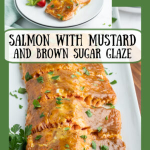 Pinterest collage image for salmon with mustard brown sugar frosting