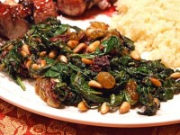 Spinach with Olives Raisins & Pine Nuts
