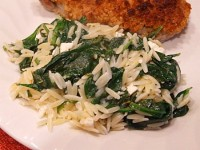 Spinach with Orzo and Feta