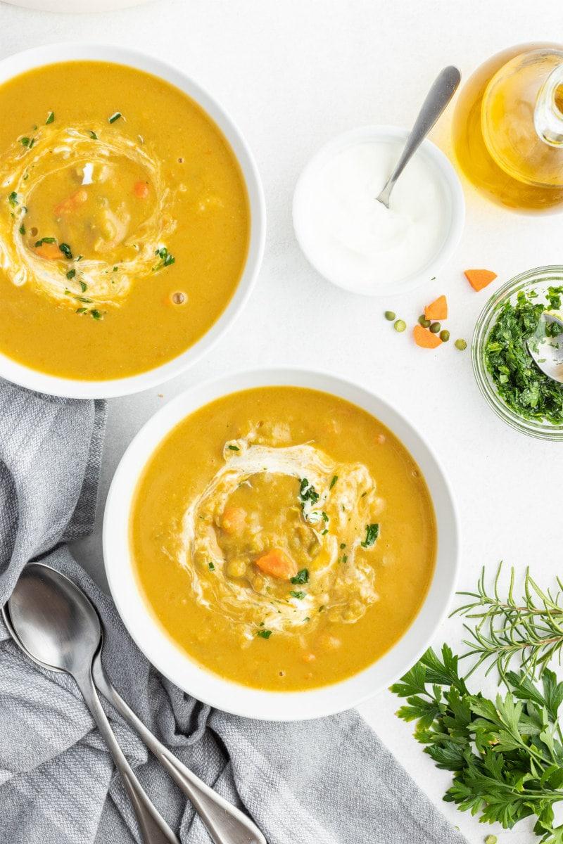 split pea soup in white bowls