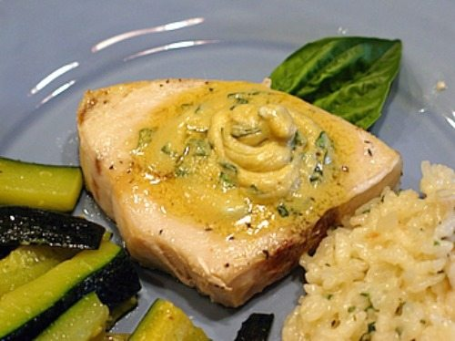 Swordfish with Mustard Basil Butter