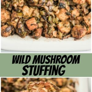 pinterest collage image for wild mushroom stuffing