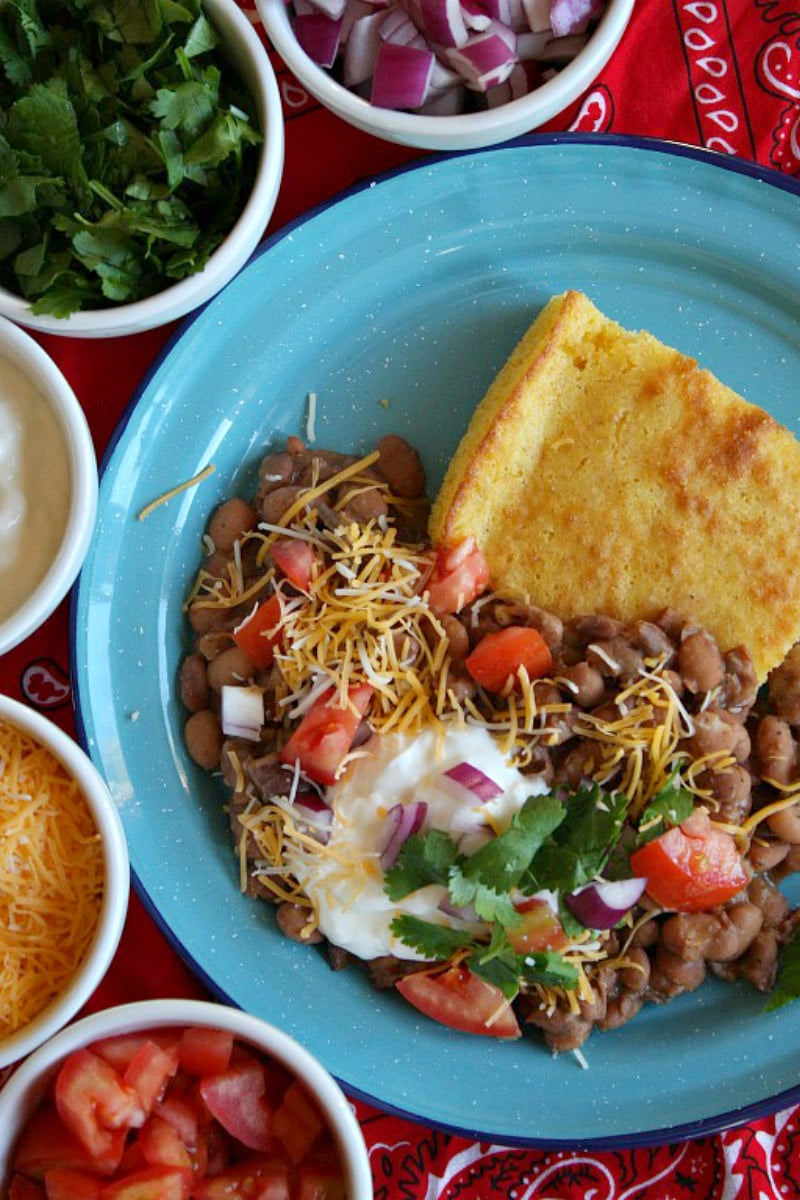 Beans and Cornbread topped with fixings