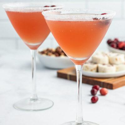 two cranberry margaritas