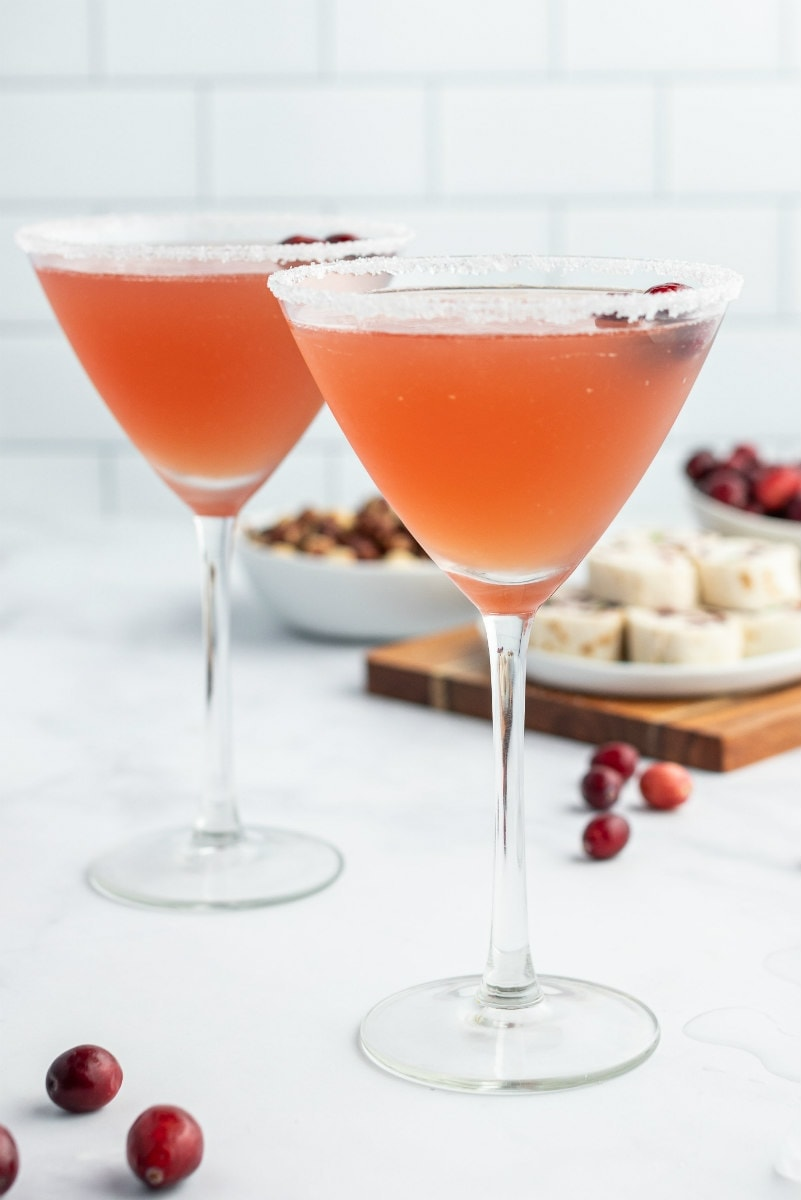 two cranberry margaritas