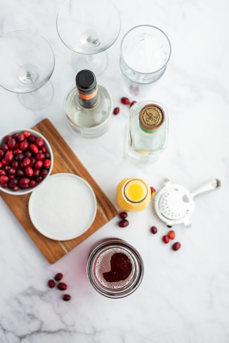 ingredients displayed for cranberry margaritas