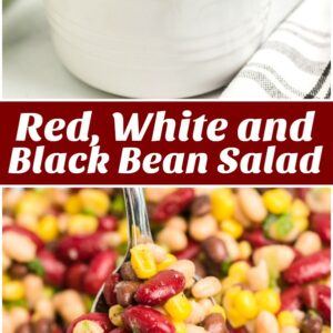 pinterest collage image for red white and black bean salad