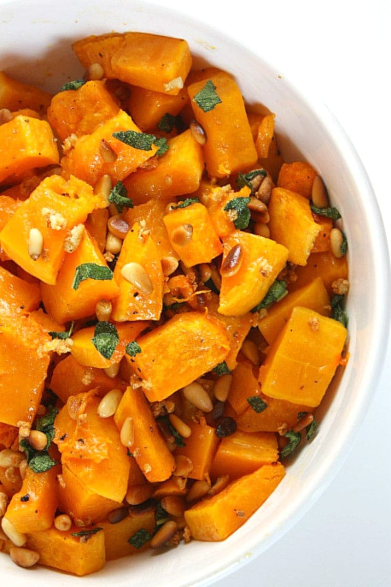 roasted butternut squash with garlic sage and pine nuts
