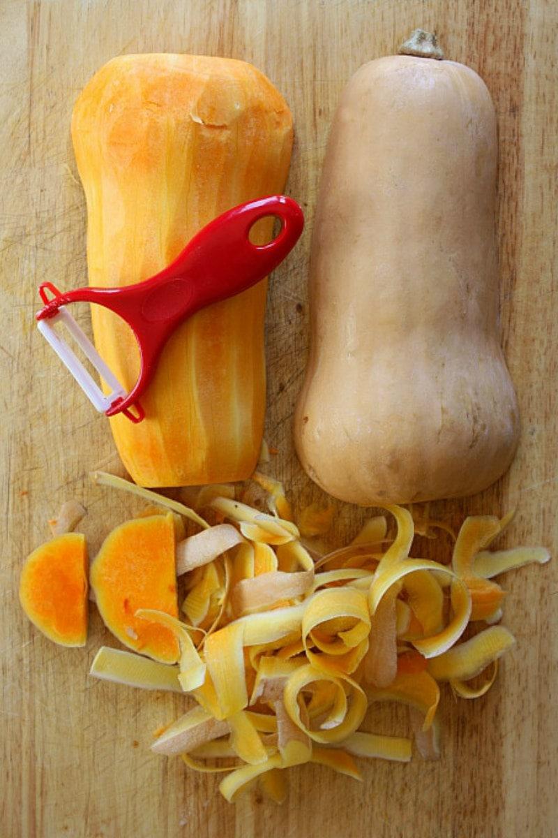 peeling butternut squash