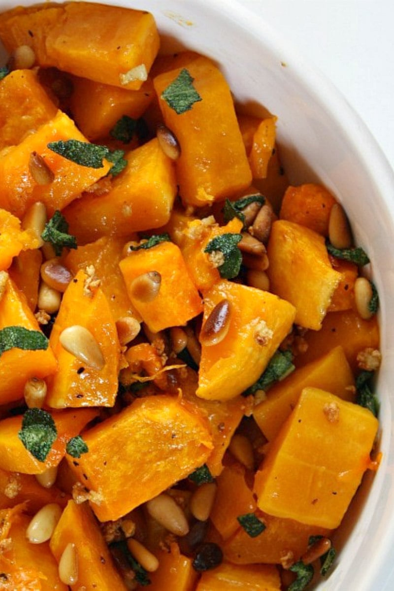 roasted butternut squash with sage and pine nuts