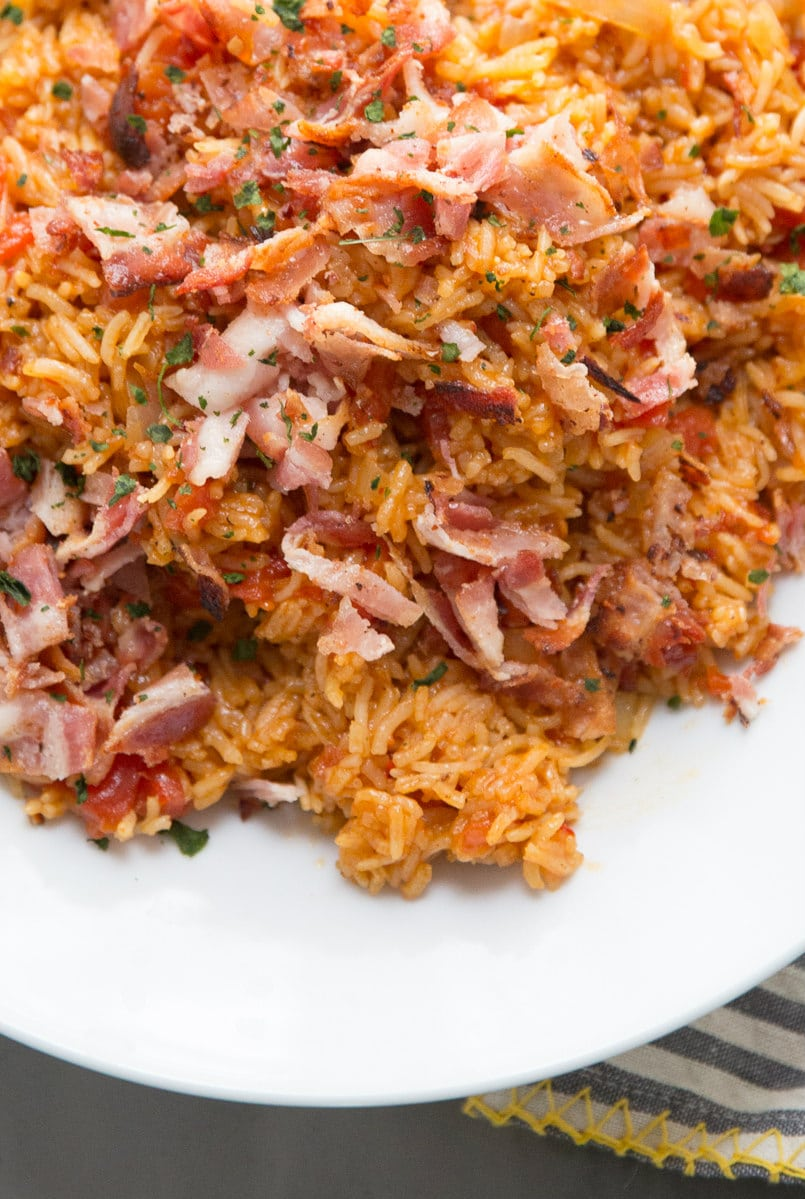 Spanish Rice topped with bacon