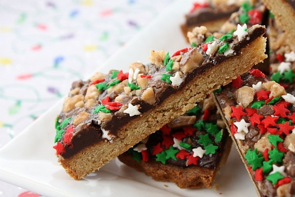 Chocolate Toffee Wedges with holiday sprinkles