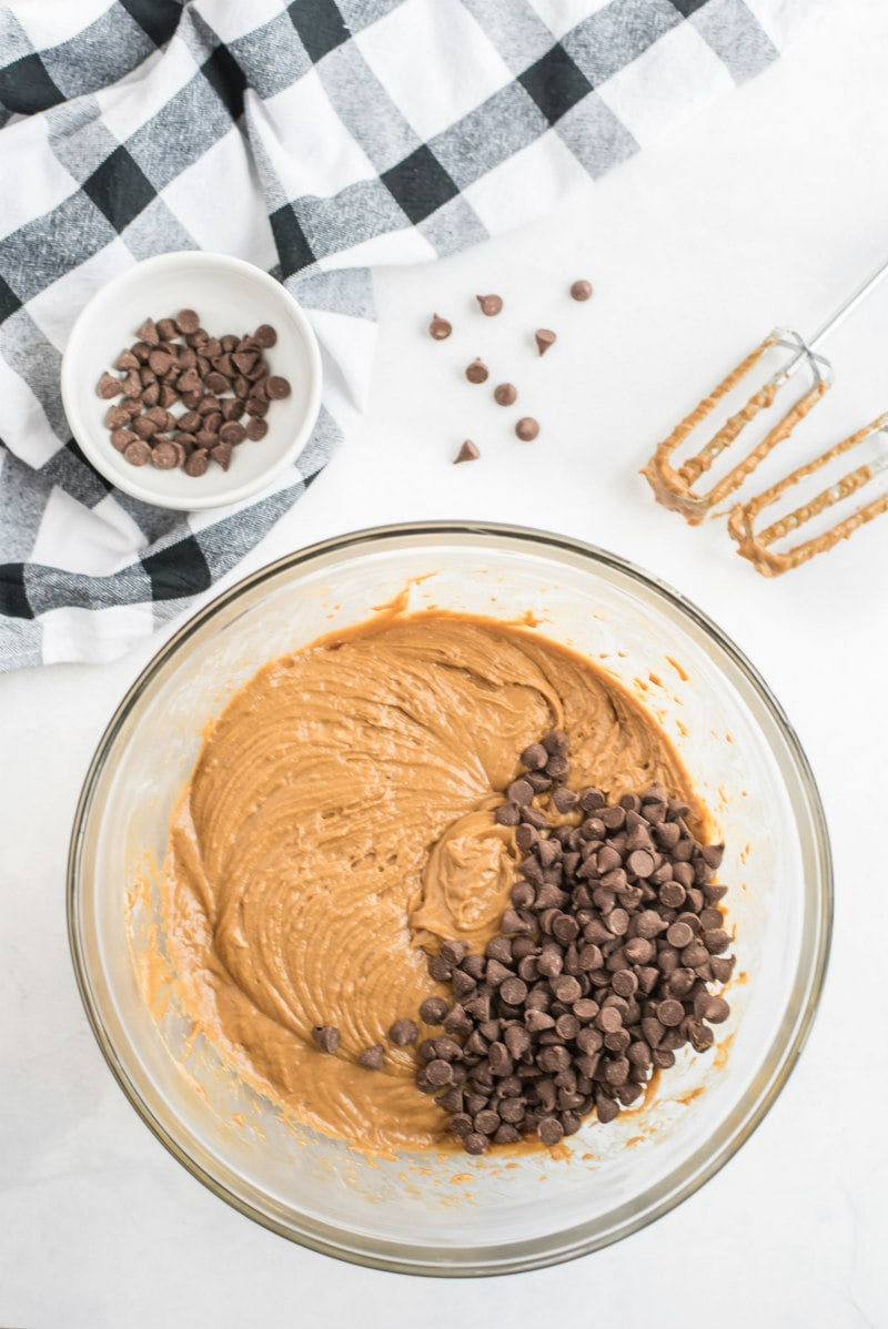 batter for gingerbread bars with chocolate chips in bowl