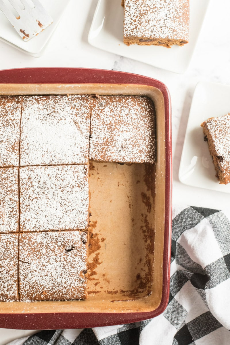 overhead shot of a pan of gingerbread bars